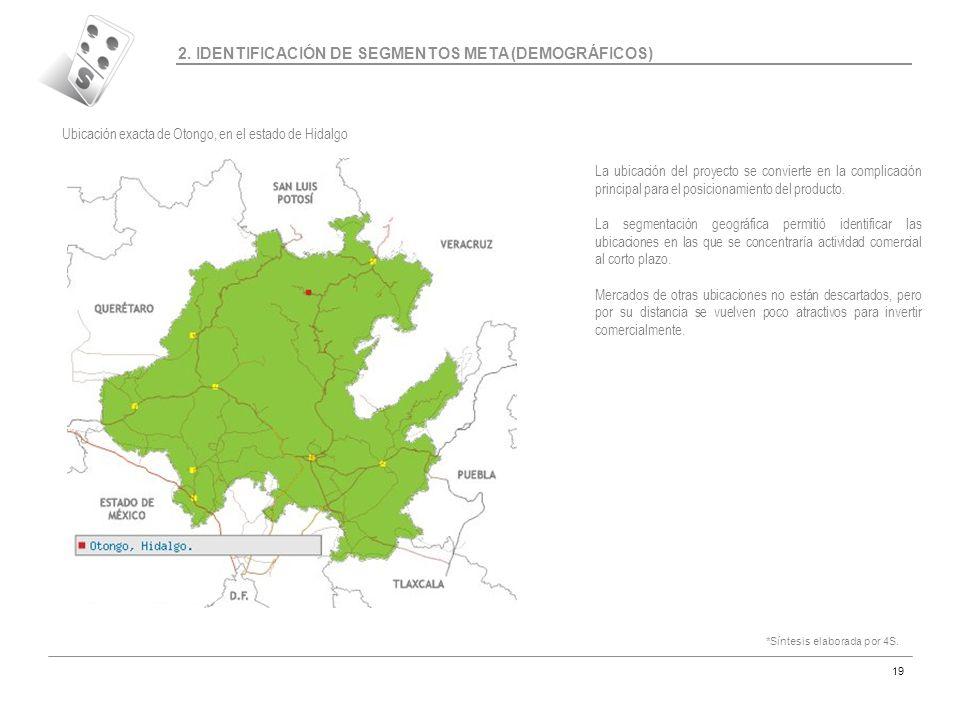 Código MAR-07 19 2. IDENTIFICACIÓN DE SEGMENTOS META (DEMOGRÁFICOS) Ubicación exacta de Otongo, en el estado de Hidalgo La ubicación del proyecto se c