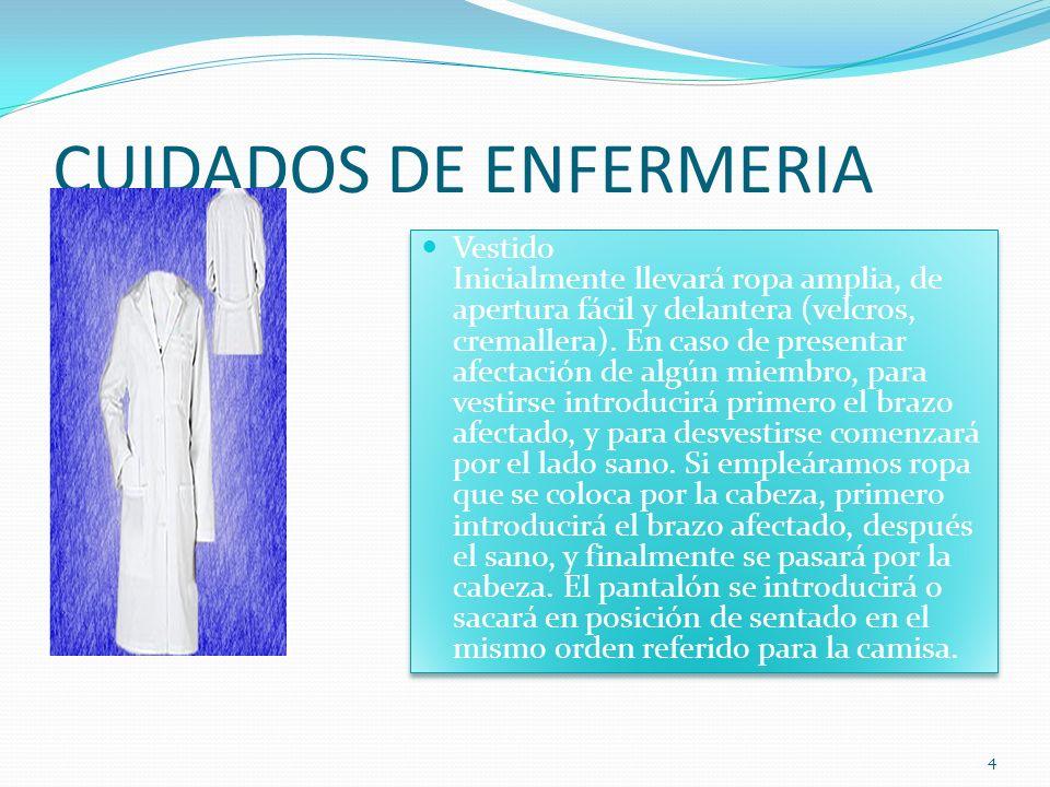 CUIDADOS DE ENFERMERIA Vestido Inicialmente llevará ropa amplia, de apertura fácil y delantera (velcros, cremallera).