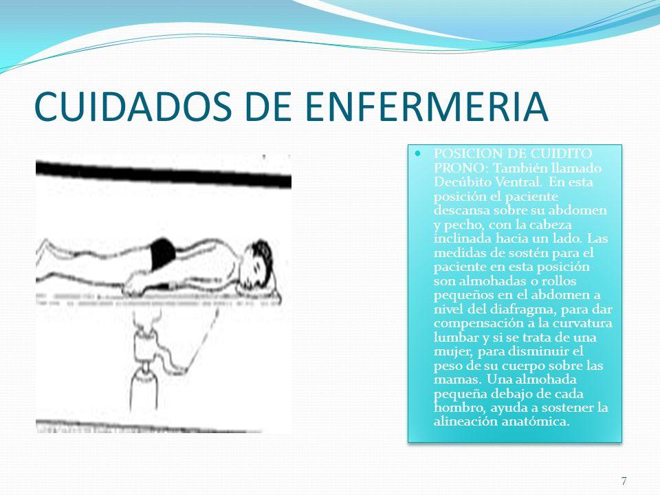 CUIDADOS DE ENFERMERIA POSICION DE CUIDITO PRONO: También llamado Decúbito Ventral.