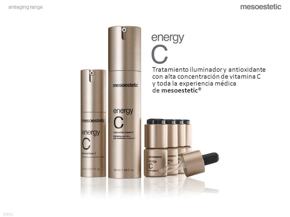 antiaging range MENU Tratamiento iluminador y antioxidante con alta concentración de vitamina C y toda la experiencia médica de mesoestetic® MENU