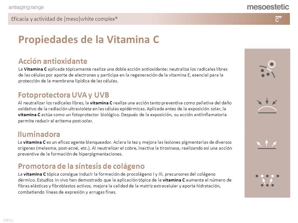 antiaging range MENU Eficacia y actividad de [meso]white complex® Propiedades de la Vitamina C Fotoprotectora UVA y UVB Al neutralizar los radicales l