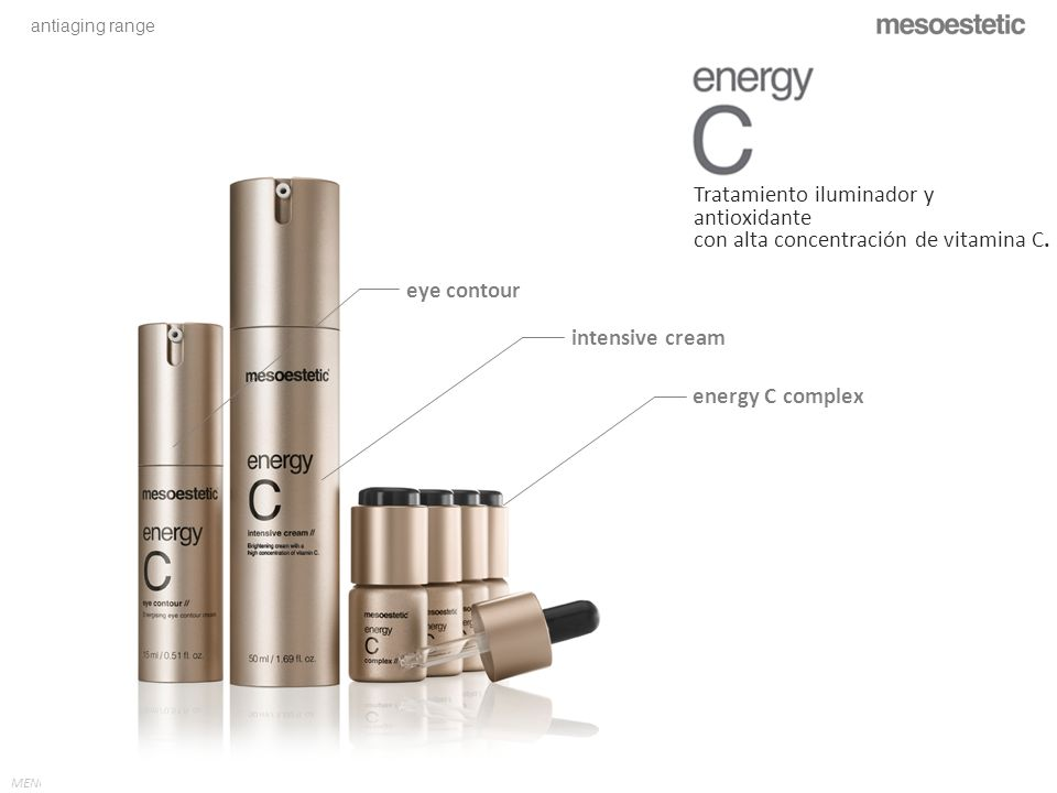 antiaging range MENU eye contour intensive cream energy C complex Tratamiento iluminador y antioxidante con alta concentración de vitamina C.