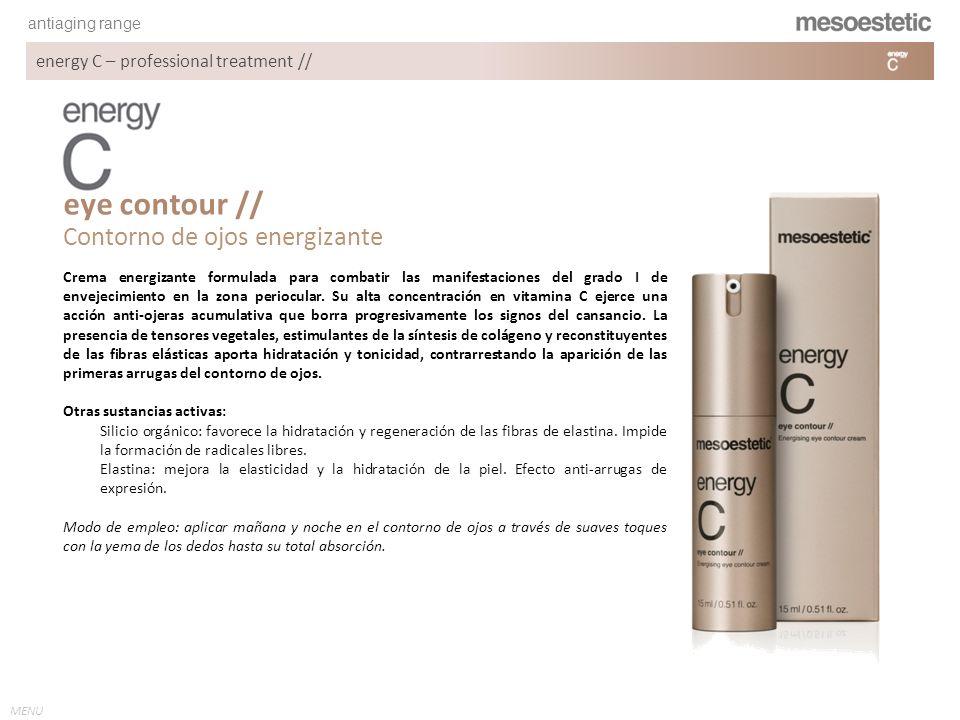 antiaging range MENU energy C – professional treatment // Crema energizante formulada para combatir las manifestaciones del grado I de envejecimiento
