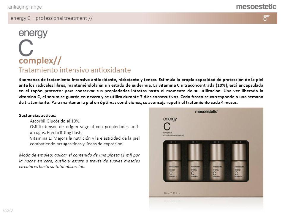 antiaging range MENU energy C – professional treatment // Tratamiento intensivo antioxidante complex// Sustancias activas: Ascorbil Glucósido al 10%.