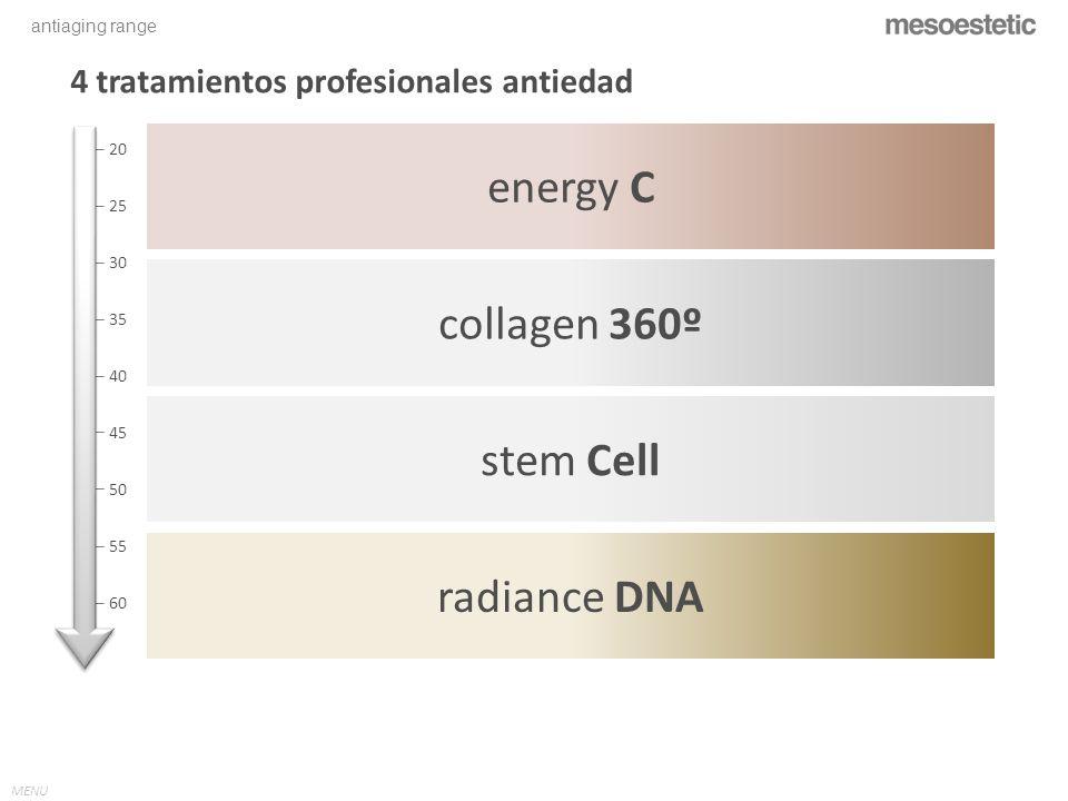 antiaging range MENU energy C stem Cell collagen 360º radiance DNA 4 tratamientos profesionales antiedad 20 25 30 35 40 45 50 55 60