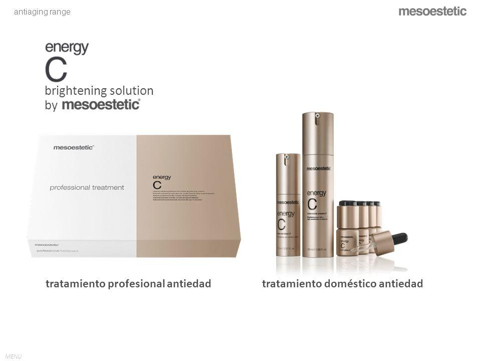 antiaging range MENU energy C – professional treatment // VITAMINA C La vitamina C aplicada tópicamente acentúa el nivel de ARNm de Colágeno I y III, sus enzimas de procesamiento y el inhibidor tisular de la matriz Metalloproteinasa 1 en la dérmis humana.