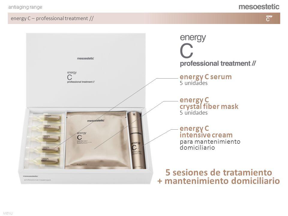 antiaging range MENU energy C – professional treatment // ÁCIDO ASCÓRBICO El ácido L-ascórbico 2-fosfato estimula la acumulación de colágeno, la proliferación celular y la formación de un tejido tridimensional como la sustancia de los fibroblastos de la piel.