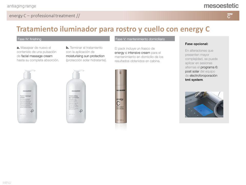 antiaging range MENU energy C – professional treatment // Crema iluminadora diseñada para combatir los primeros signos de envejecimiento.