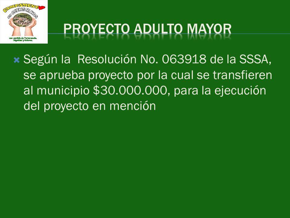 Según la Resolución No. 063918 de la SSSA, se aprueba proyecto por la cual se transfieren al municipio $30.000.000, para la ejecución del proyecto en