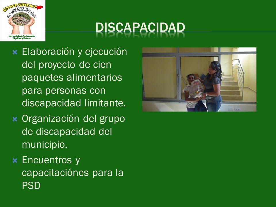 Elaboración y ejecución del proyecto de cien paquetes alimentarios para personas con discapacidad limitante. Organización del grupo de discapacidad de