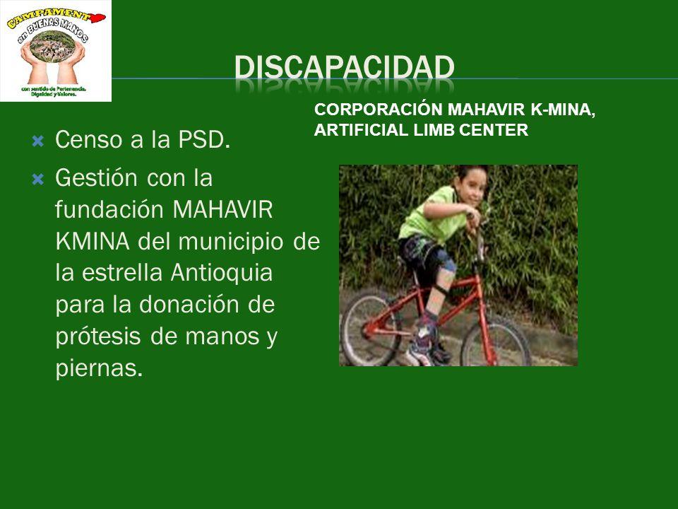 Censo a la PSD. Gestión con la fundación MAHAVIR KMINA del municipio de la estrella Antioquia para la donación de prótesis de manos y piernas. CORPORA