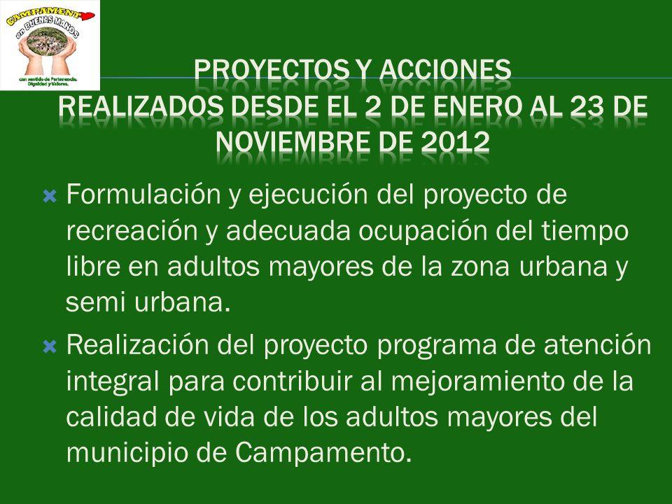 Proyecto de huertas caseras para adultos mayores y población en situación de discapacidad gestión de la coordinadora de dichos programas y el coordinador de la umata