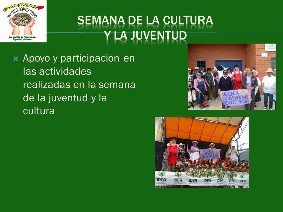 Apoyo y participacion en las actividades realizadas en la semana de la juventud y la cultura