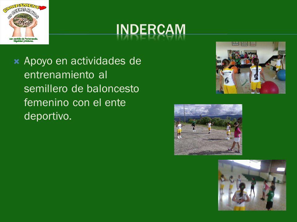 Apoyo en actividades de entrenamiento al semillero de baloncesto femenino con el ente deportivo.