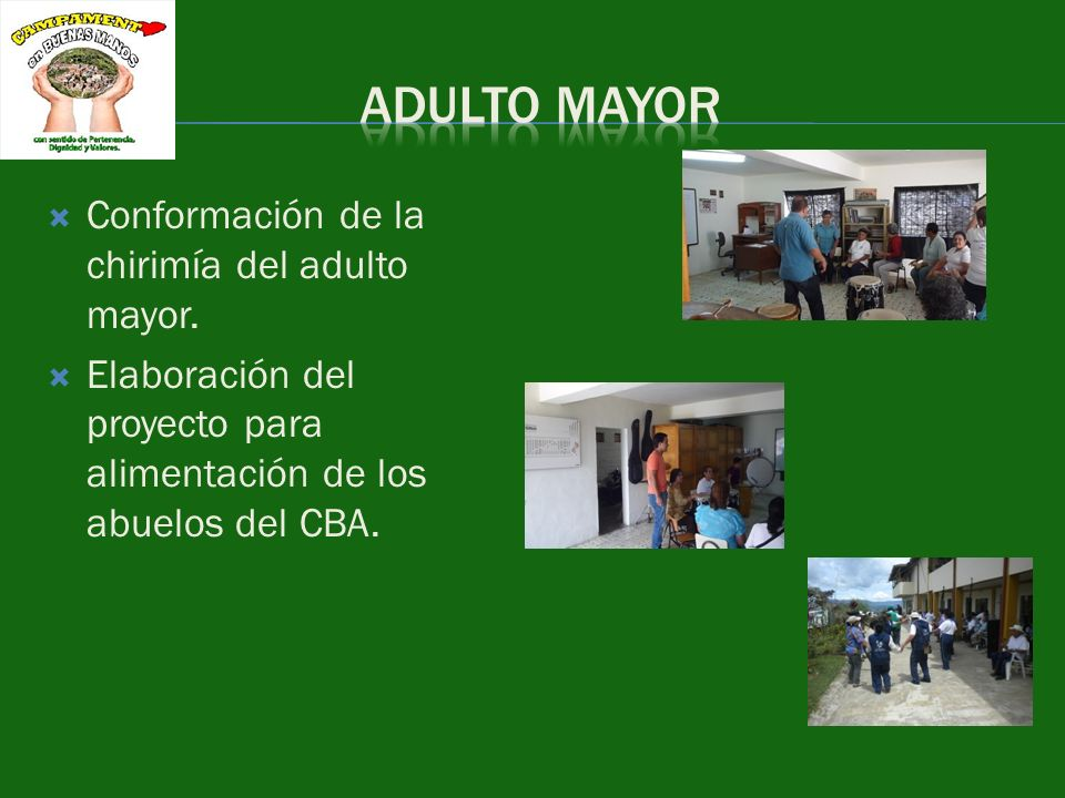 Conformación de la chirimía del adulto mayor.