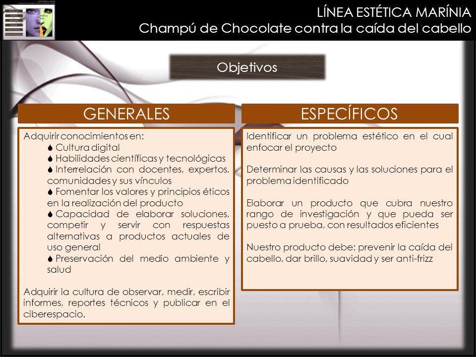 LÍNEA ESTÉTICA MARÍNIA Champú de Chocolate contra la caída del cabello Objetivos Adquirir conocimientos en: Cultura digital Habilidades científicas y