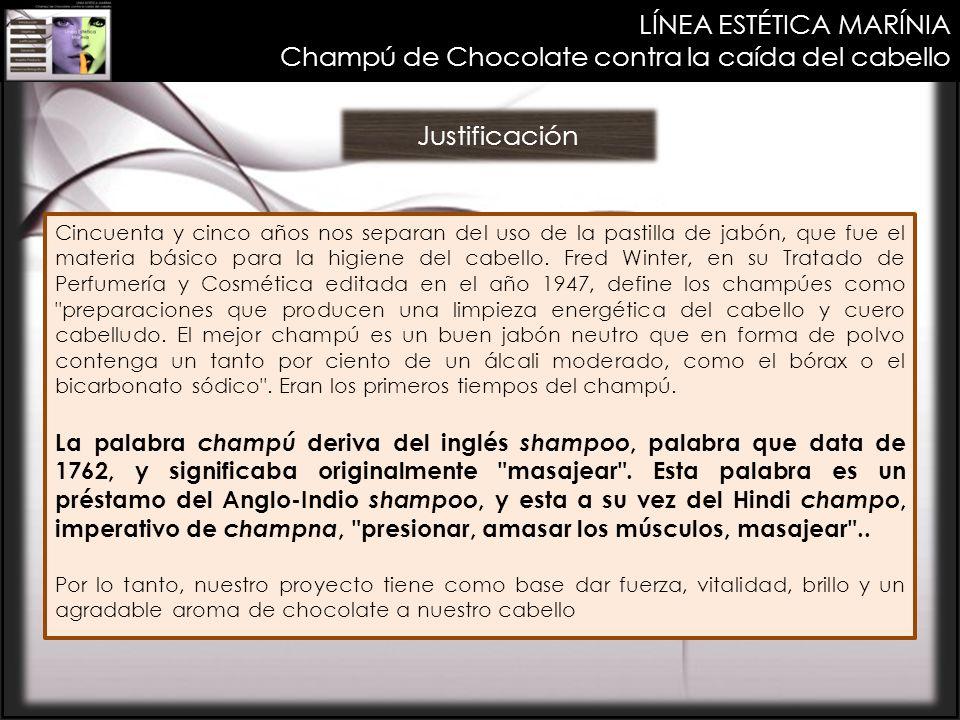 LÍNEA ESTÉTICA MARÍNIA Champú de Chocolate contra la caída del cabello Justificación Cincuenta y cinco años nos separan del uso de la pastilla de jabó