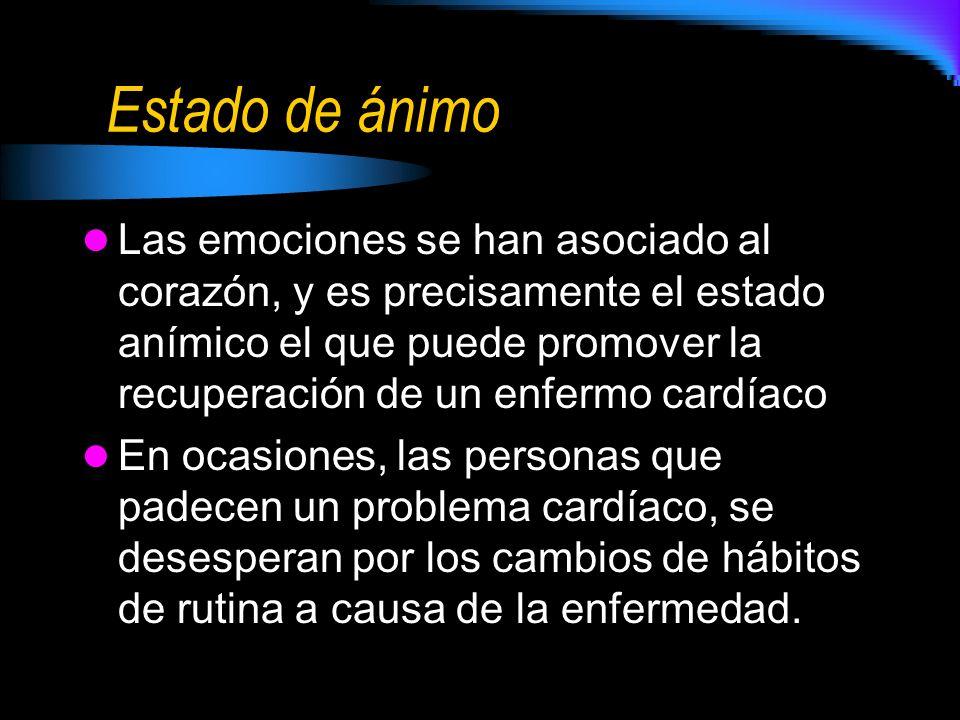 Estado de ánimo Las emociones se han asociado al corazón, y es precisamente el estado anímico el que puede promover la recuperación de un enfermo card