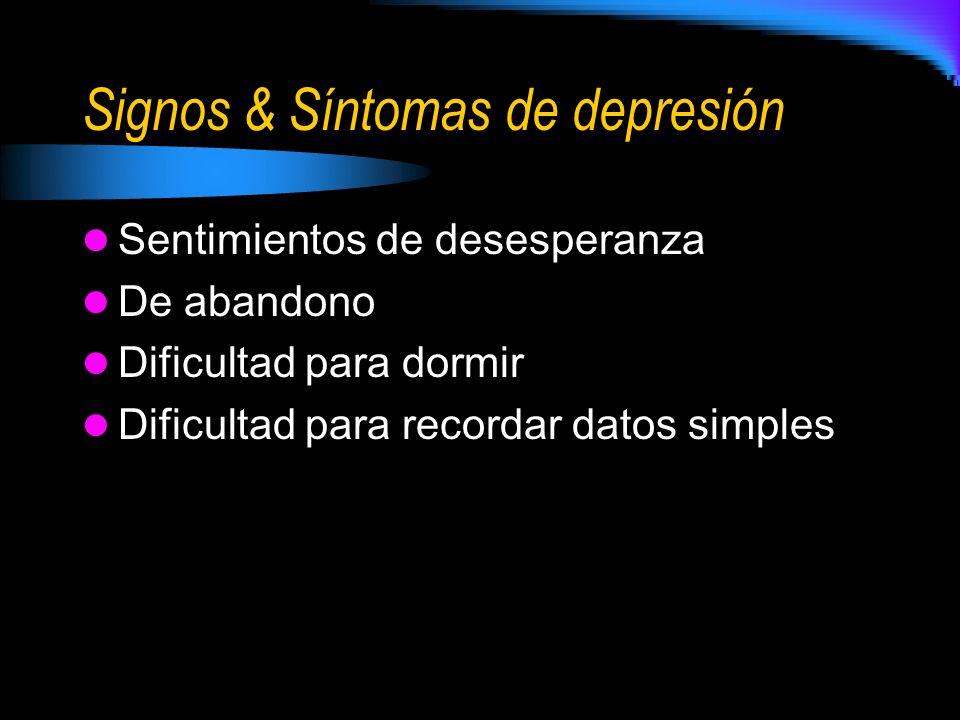 Signos & Síntomas de depresión Sentimientos de desesperanza De abandono Dificultad para dormir Dificultad para recordar datos simples
