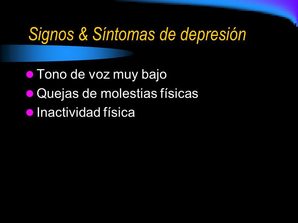 Signos & Síntomas de depresión Tono de voz muy bajo Quejas de molestias físicas Inactividad física