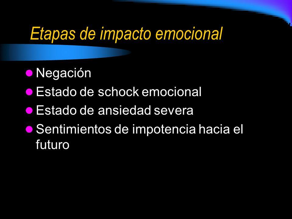 Etapas de impacto emocional Negación Estado de schock emocional Estado de ansiedad severa Sentimientos de impotencia hacia el futuro