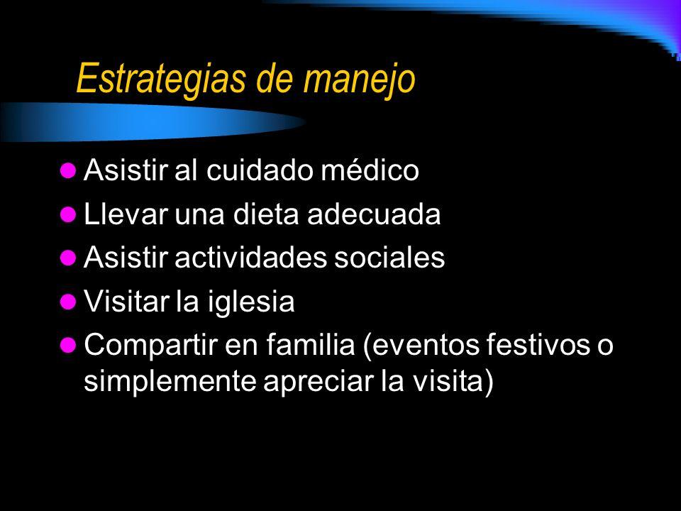 Estrategias de manejo Asistir al cuidado médico Llevar una dieta adecuada Asistir actividades sociales Visitar la iglesia Compartir en familia (evento