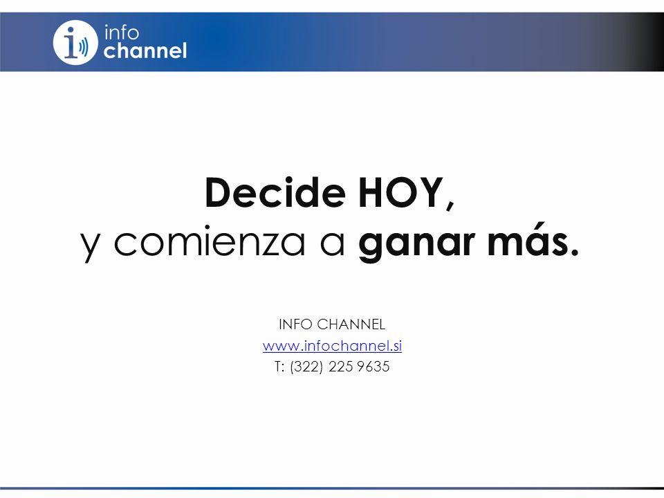 Decide HOY, y comienza a ganar más. INFO CHANNEL www.infochannel.si T: (322) 225 9635