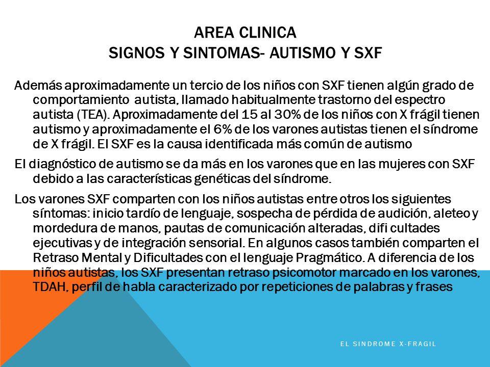 AREA CLINICA SIGNOS Y SINTOMAS- AUTISMO Y SXF Además aproximadamente un tercio de los niños con SXF tienen algún grado de comportamiento autista, llam