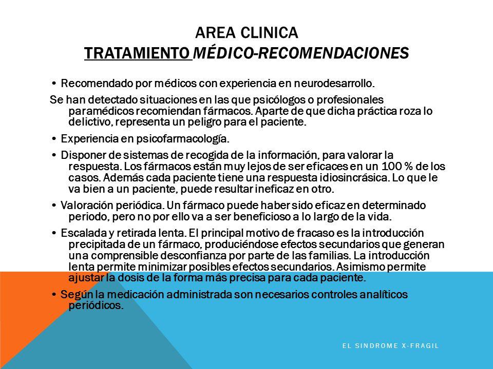 AREA CLINICA TRATAMIENTO MÉDICO-RECOMENDACIONES Recomendado por médicos con experiencia en neurodesarrollo. Se han detectado situaciones en las que ps