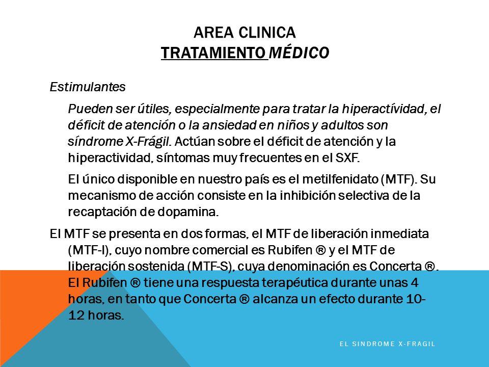 AREA CLINICA TRATAMIENTO MÉDICO Estimulantes Pueden ser útiles, especialmente para tratar la hiperactívidad, el déficit de atención o la ansiedad en n