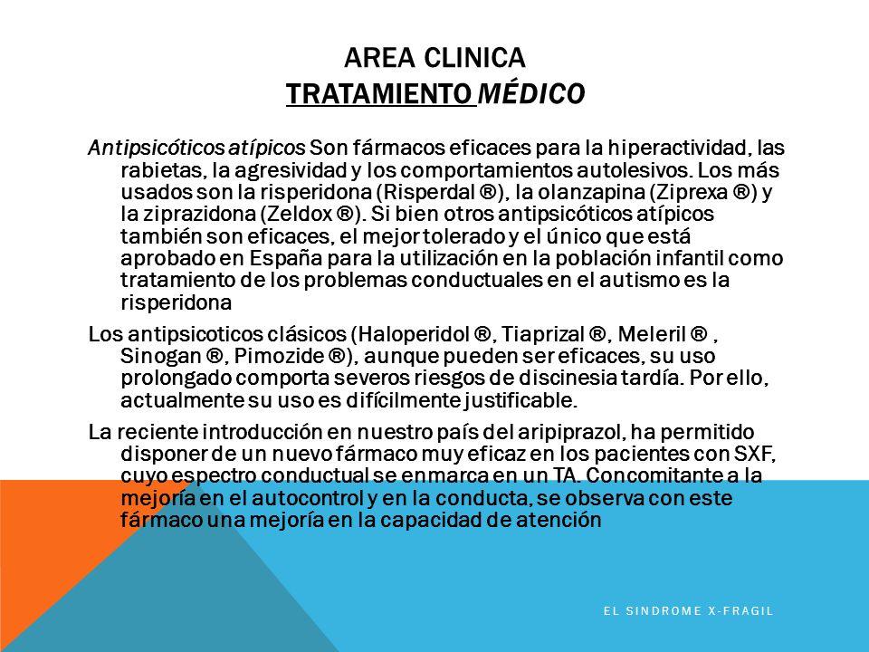 AREA CLINICA TRATAMIENTO MÉDICO Antipsicóticos atípicos Son fármacos eficaces para la hiperactividad, las rabietas, la agresividad y los comportamient