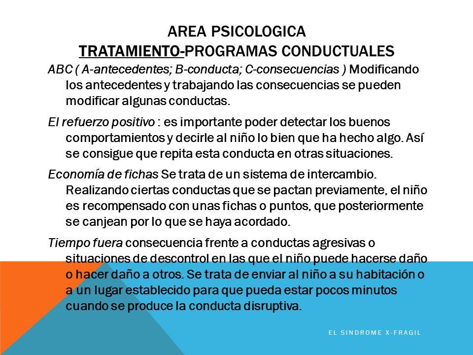 AREA PSICOLOGICA TRATAMIENTO-PROGRAMAS CONDUCTUALES ABC ( A-antecedentes; B-conducta; C-consecuencias ) Modificando los antecedentes y trabajando las