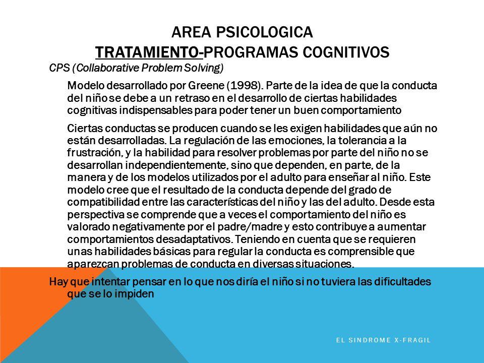 AREA PSICOLOGICA TRATAMIENTO-PROGRAMAS COGNITIVOS CPS (Collaborative Problem Solving) Modelo desarrollado por Greene (1998). Parte de la idea de que l
