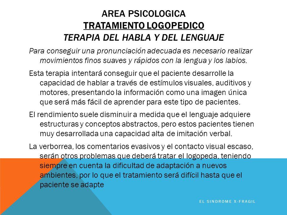 AREA PSICOLOGICA TRATAMIENTO LOGOPEDICO TERAPIA DEL HABLA Y DEL LENGUAJE Para conseguir una pronunciación adecuada es necesario realizar movimientos f