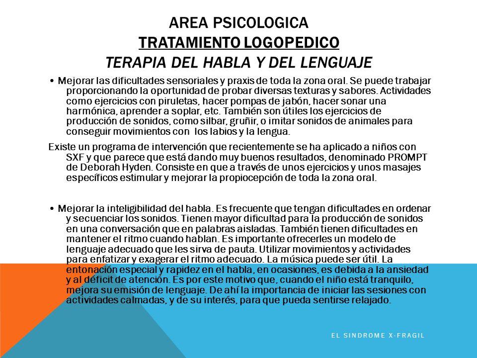 AREA PSICOLOGICA TRATAMIENTO LOGOPEDICO TERAPIA DEL HABLA Y DEL LENGUAJE Mejorar las dificultades sensoriales y praxis de toda la zona oral. Se puede