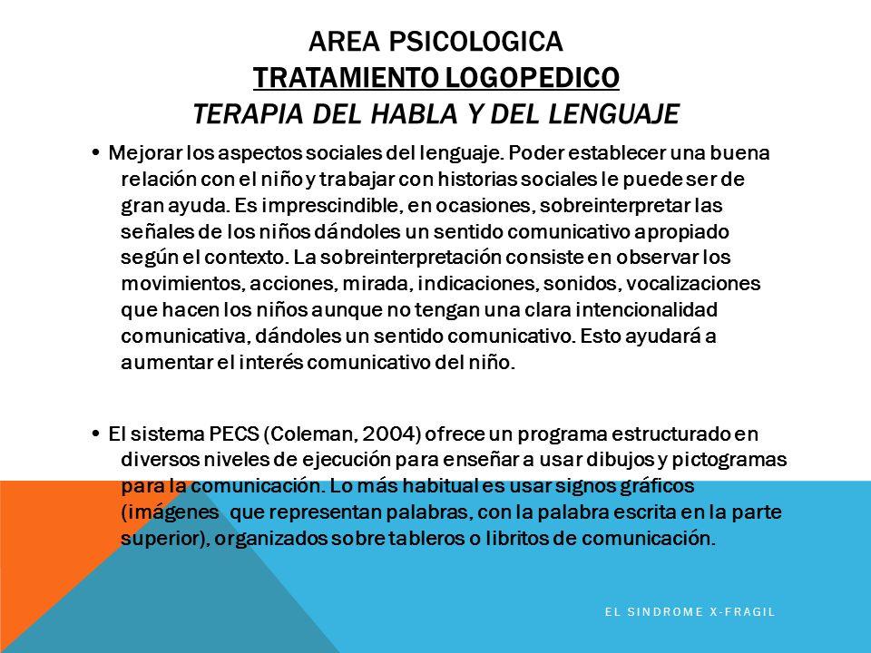 AREA PSICOLOGICA TRATAMIENTO LOGOPEDICO TERAPIA DEL HABLA Y DEL LENGUAJE Mejorar los aspectos sociales del lenguaje. Poder establecer una buena relaci