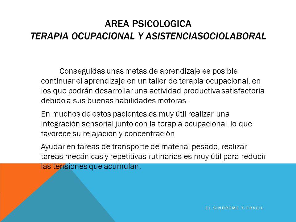 AREA PSICOLOGICA TERAPIA OCUPACIONAL Y ASISTENCIASOCIOLABORAL Conseguidas unas metas de aprendizaje es posible continuar el aprendizaje en un taller d