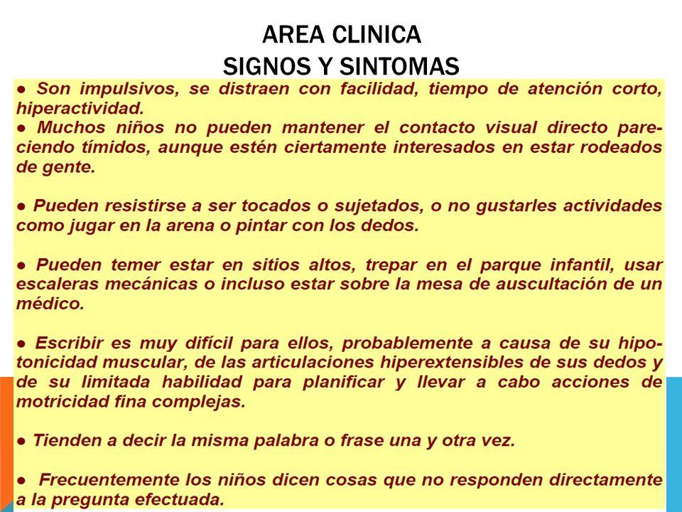 AREA CLINICA SIGNOS Y SINTOMAS EL SINDROME X-FRAGIL