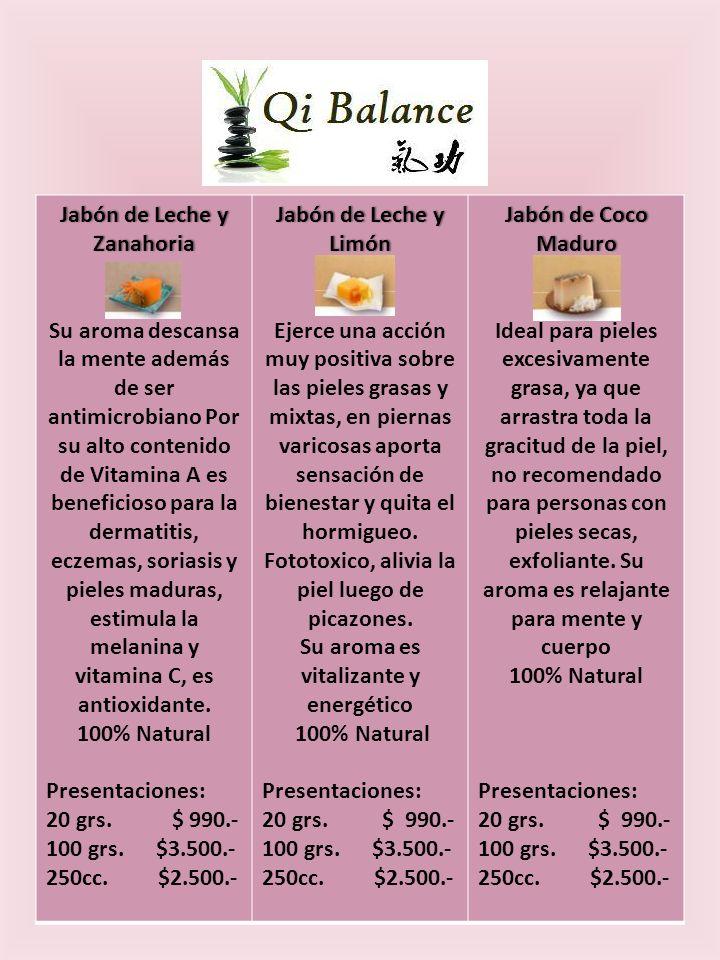 Jabón de Leche y Zanahoria Su aroma descansa la mente además de ser antimicrobiano Por su alto contenido de Vitamina A es beneficioso para la dermatitis, eczemas, soriasis y pieles maduras, estimula la melanina y vitamina C, es antioxidante.