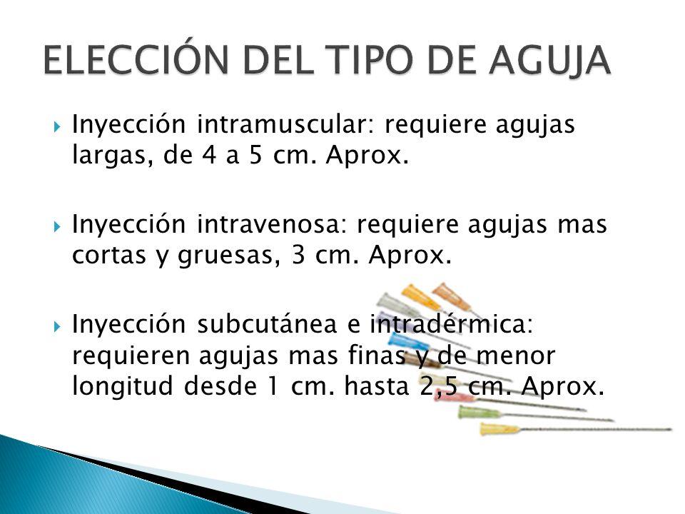 Inyección intramuscular: requiere agujas largas, de 4 a 5 cm.