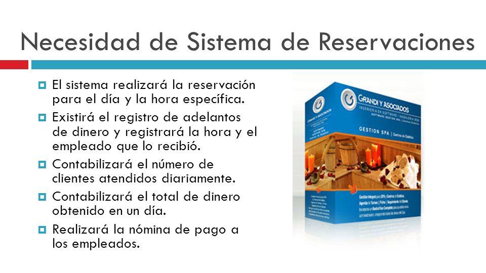 Necesidad de Sistema de Reservaciones El sistema realizará la reservación para el día y la hora específica.