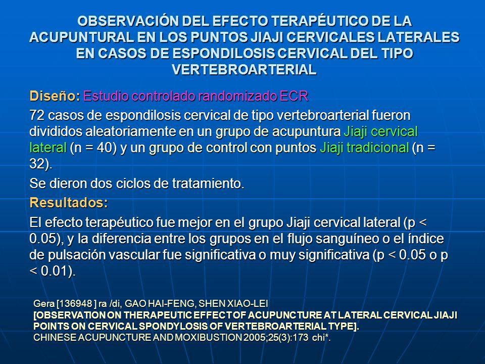 OBSERVACIÓN DEL EFECTO TERAPÉUTICO DE LA ACUPUNTURAL EN LOS PUNTOS JIAJI CERVICALES LATERALES EN CASOS DE ESPONDILOSIS CERVICAL DEL TIPO VERTEBROARTER