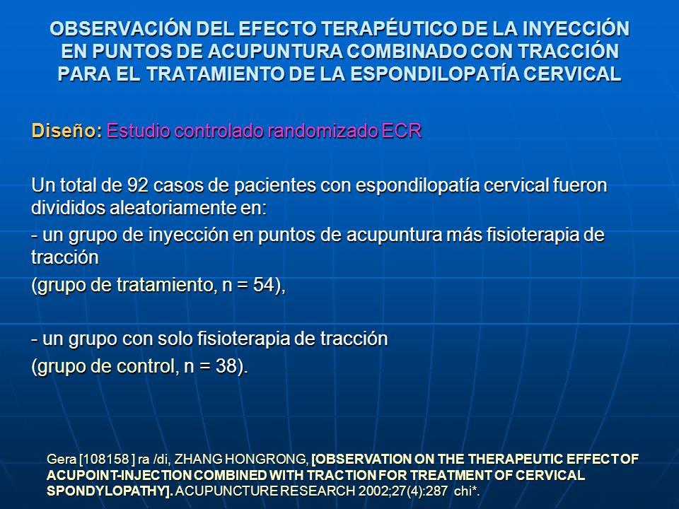 OBSERVACIÓN DEL EFECTO TERAPÉUTICO DE LA INYECCIÓN EN PUNTOS DE ACUPUNTURA COMBINADO CON TRACCIÓN PARA EL TRATAMIENTO DE LA ESPONDILOPATÍA CERVICAL Di