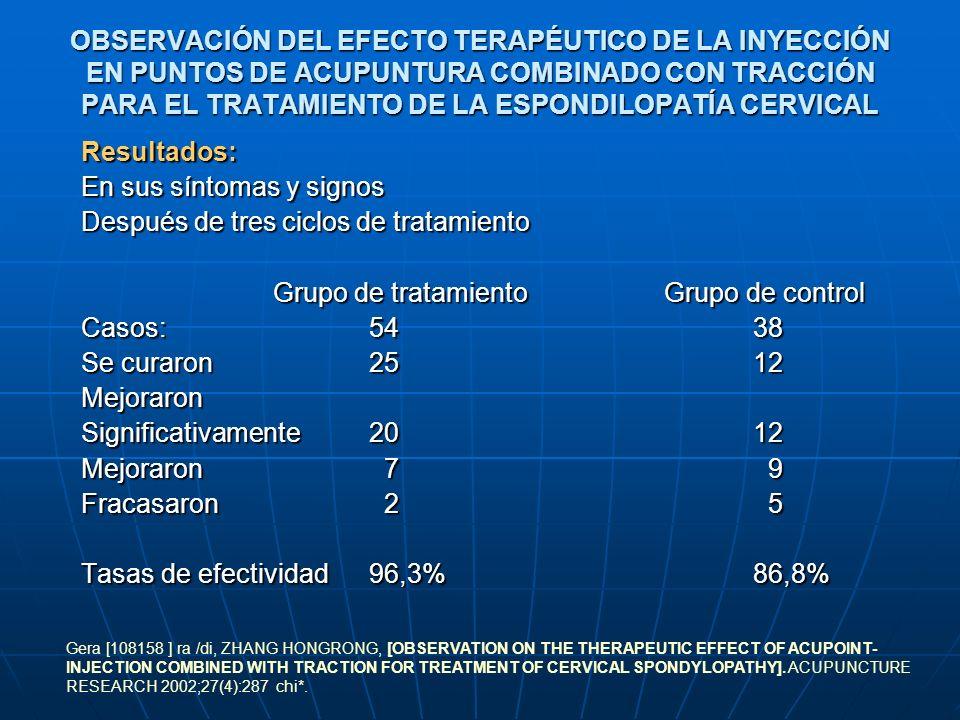 OBSERVACIÓN DEL EFECTO TERAPÉUTICO DE LA INYECCIÓN EN PUNTOS DE ACUPUNTURA COMBINADO CON TRACCIÓN PARA EL TRATAMIENTO DE LA ESPONDILOPATÍA CERVICAL Re