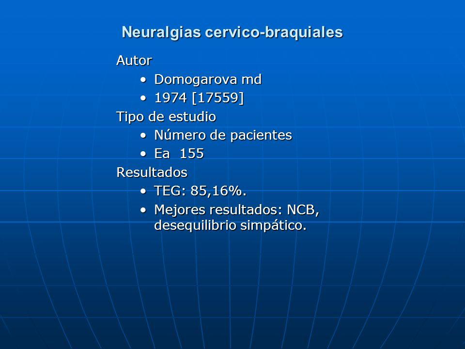 Neuralgias cervico-braquiales Autor Domogarova md 1974 [17559] Tipo de estudio Número de pacientes Ea 155Resultados TEG: 85,16%. Mejores resultados: N