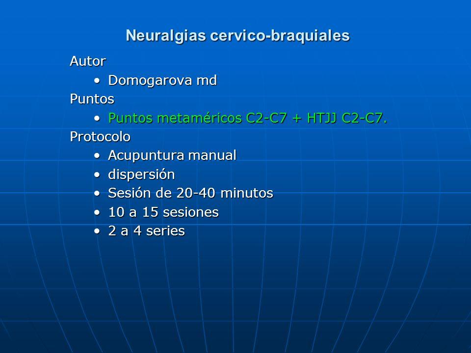 Neuralgias cervico-braquiales Neuralgias cervico-braquiales Autor Domogarova mdPuntos Puntos metaméricos C2-C7 + HTJJ C2-C7.Protocolo Acupuntura manua