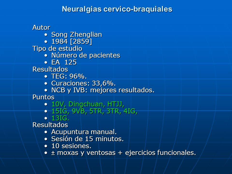 Neuralgias cervico-braquiales Neuralgias cervico-braquialesAutor Song Zhenglian 1984 [2859] Tipo de estudio Número de pacientes EA 125Resultados TEG: