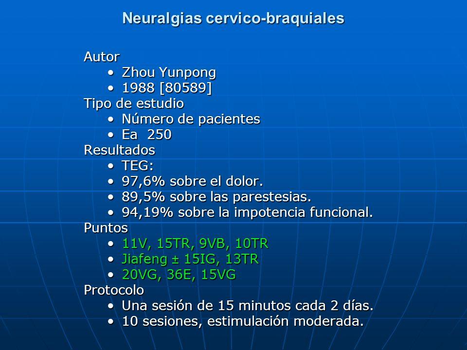 Neuralgias cervico-braquiales Autor Zhou Yunpong 1988 [80589] Tipo de estudio Número de pacientes Ea 250Resultados TEG: 97,6% sobre el dolor. 89,5% so