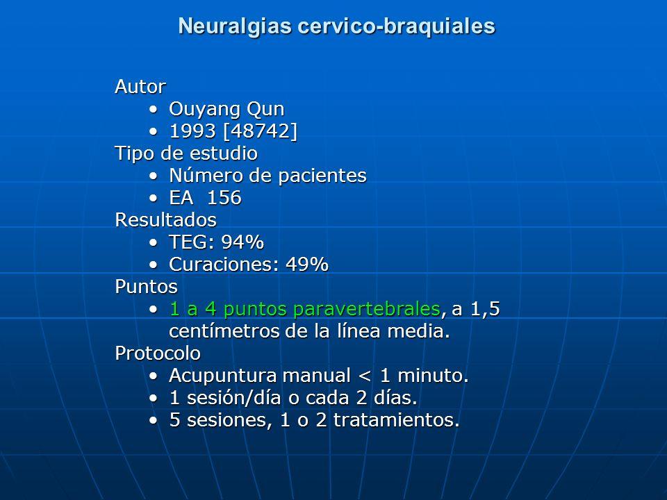 Neuralgias cervico-braquiales Neuralgias cervico-braquialesAutor Ouyang Qun 1993 [48742] Tipo de estudio Número de pacientes EA 156Resultados TEG: 94%