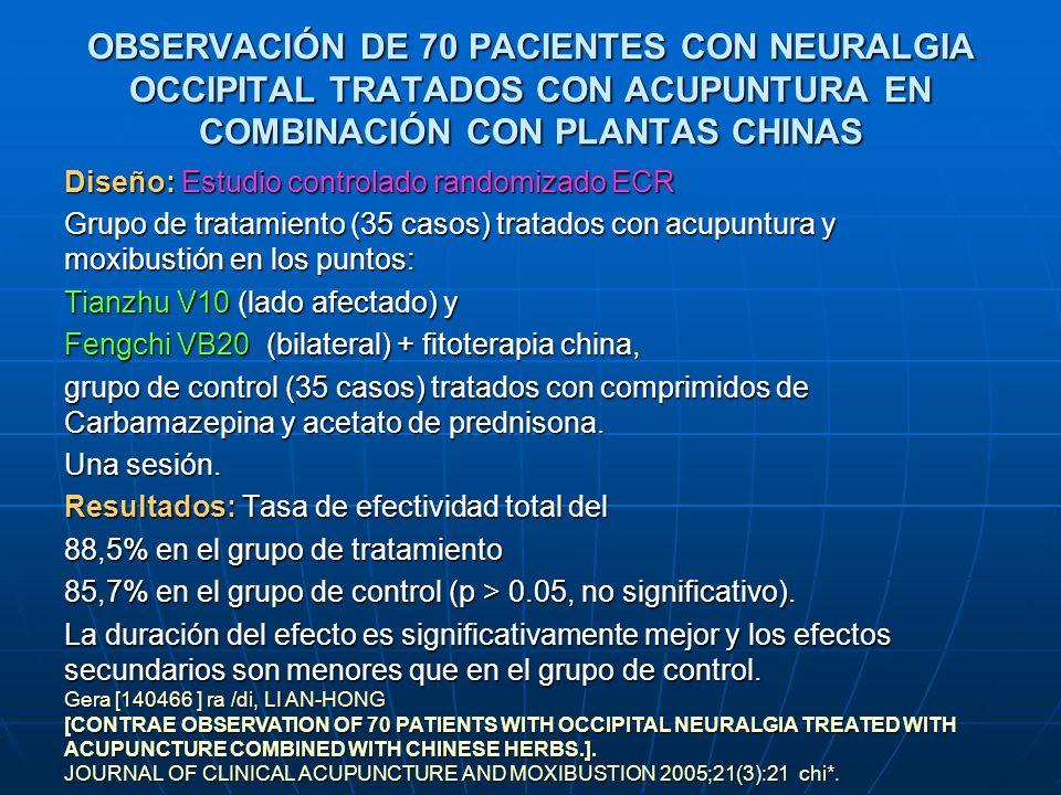OBSERVACIONES CLÍNICAS DEL TRATAMIENTO EN 48 CASOS DE ESPONDILOPATÍA CERVICAL VERTEBROARTERIAL CON ACUPUNTURA EN LOS PUNTOS JIAJI CERVICALES Diseño: 48 pacientes con espondilopatía cervical vertebroarterial fueron tratados con acupuntura en los puntos Jiaji PC 15 cervicales y con sangría y ventosas en el punto Dazhui DU14..Resultados: Tasa de eficacia global del 93.75% en el grupo de tratamiento, superior al grupo de control (p < 0.05).